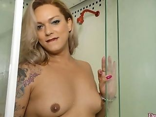 Jerking, Natural Tits, Shemale, Shower, Tranny,