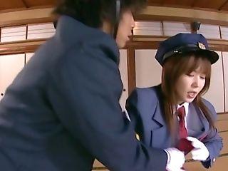 член, японки, два мужчины, одна женщина, стонет, верхом, секс втроем, униформа,