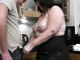 BBW, Big Ass, Big Natural Tits, Big Tits, Dick, Kitchen, Riding,