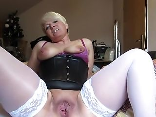 Big Tits, Blonde, Dirty Talk, Extreme, German, MILF, Nipples, Stockings,