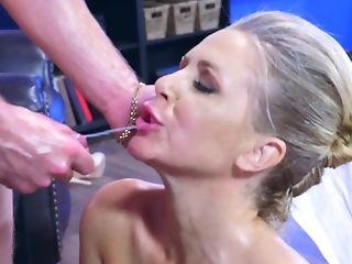 Ball Licking, Big Tits, Blonde, Blowjob, Cowgirl, Cumshot, Desk, Facial, Fake Tits, HD,