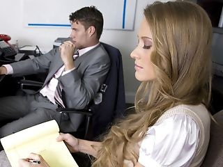 Abby Rode, Blonde, Boss, Desk, From Behind, Long Hair, Moaning, Screaming, Seduction,