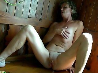 Amateur, Boobless, Close Up, Cute, Fingering, Granny, Horny, Masturbation, Pussy, Sauna,