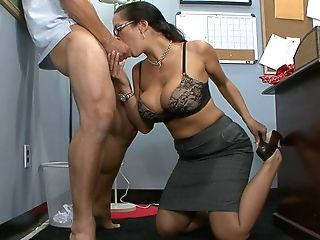 Big Tits, Blowjob, Brunette, Carmella Bing, Clothed Sex, College, Deepthroat, Glasses, Huge Tits, Legs,