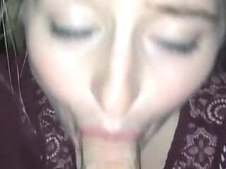 Blonde, Blowjob, Cum, Cum Swallowing, Cute, Drooling, POV, Red Lips, Wet,