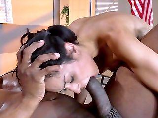 69, Big Black Cock, Black, Blowjob, Brunette, Classroom, College, Cumshot, Desk, Fake Tits,
