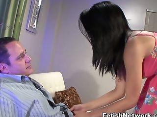 Brunette, College, Cumshot, Exotic, Fetish, Foot Fetish, Footjob, Pornstar, Stockings,